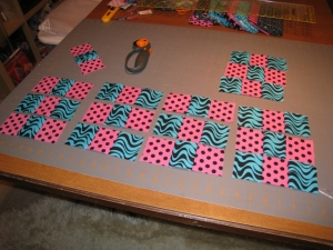 Lay out the new strips to form blocks.