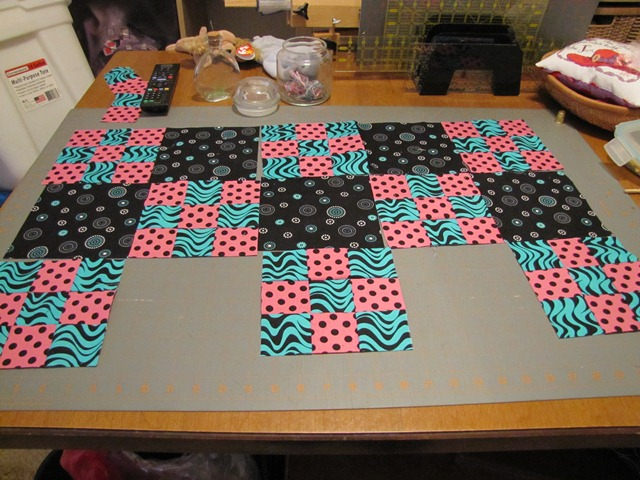 Making a quilt top from the 9 patch blocks (5/6)